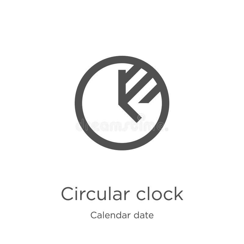de cirkelvector van het klokpictogram van de inzameling van de kalenderdatum De dunne van het het overzichtspictogram van de lijn stock illustratie