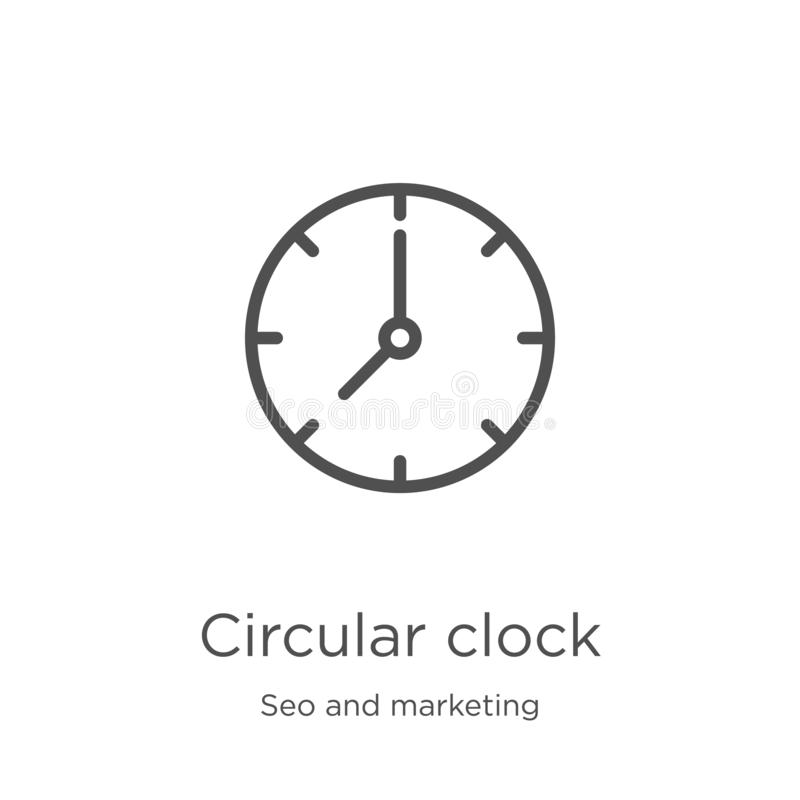 de cirkelvector van het klokpictogram van seo en marketing inzameling De dunne van het het overzichtspictogram van de lijn cirkel royalty-vrije illustratie
