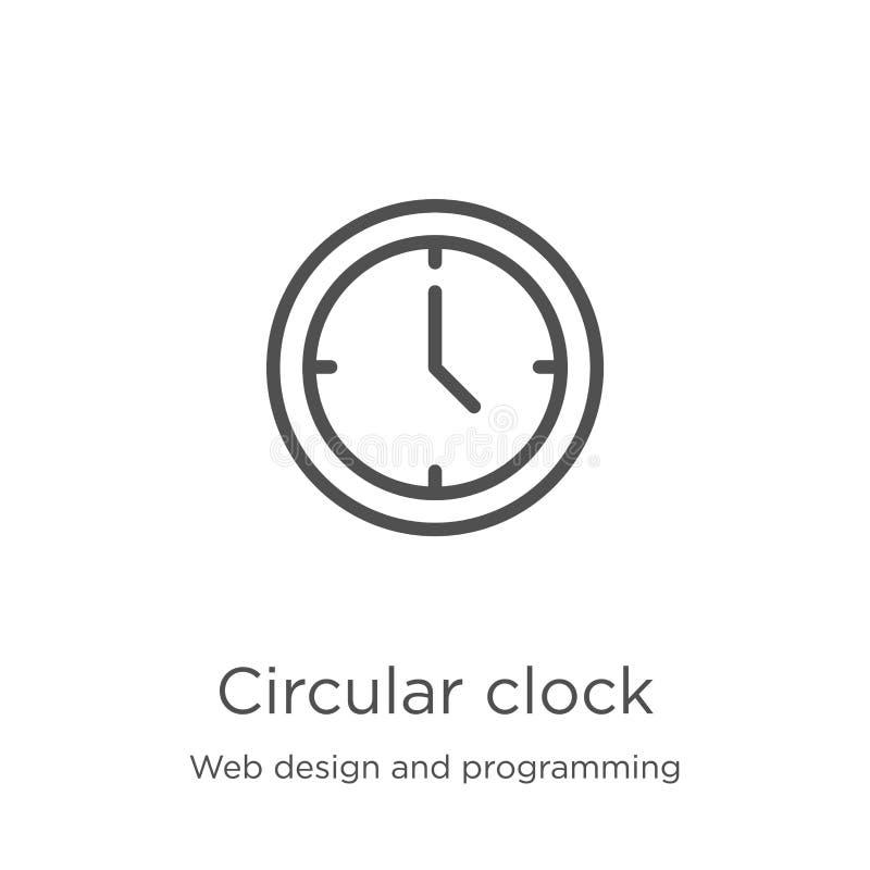 de cirkelvector van het klokpictogram van Webontwerp en programmeringsinzameling De dunne van het het overzichtspictogram van de  royalty-vrije illustratie