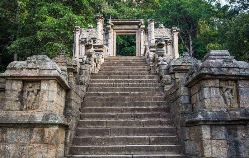 De citadel van Yapahuwa, Sri Lanka stock afbeelding