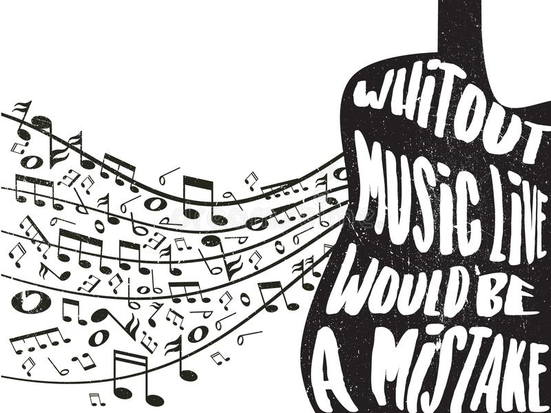 De citaten over muziek met krijt krassen gevolgen stock afbeelding