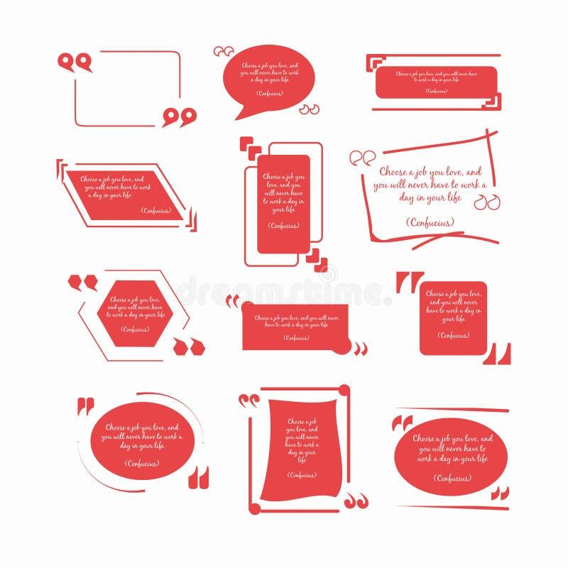 De citaten van Confucius in rode kaders met omgekeerde komma's vector illustratie