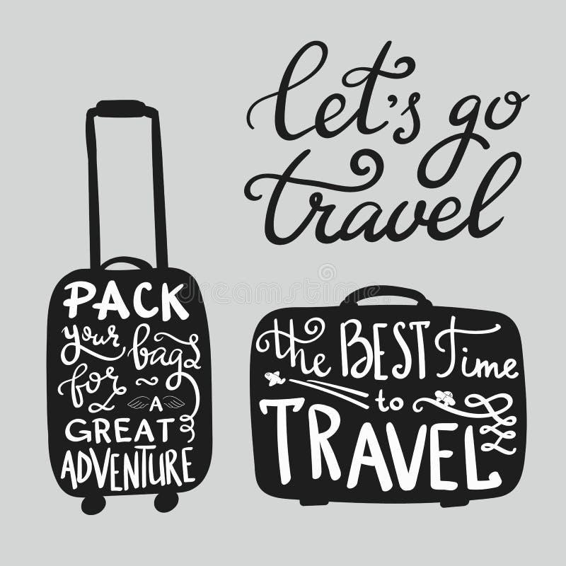 De citaten van de reisinspiratie op koffersilhouet royalty-vrije illustratie