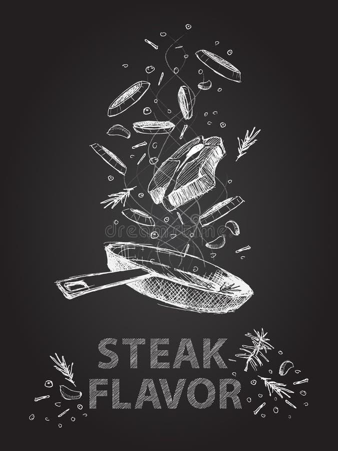 De citatenillustratie van het lapje vleesaroma op bord stock illustratie