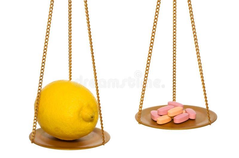De citroen is beter toen pillen stock fotografie