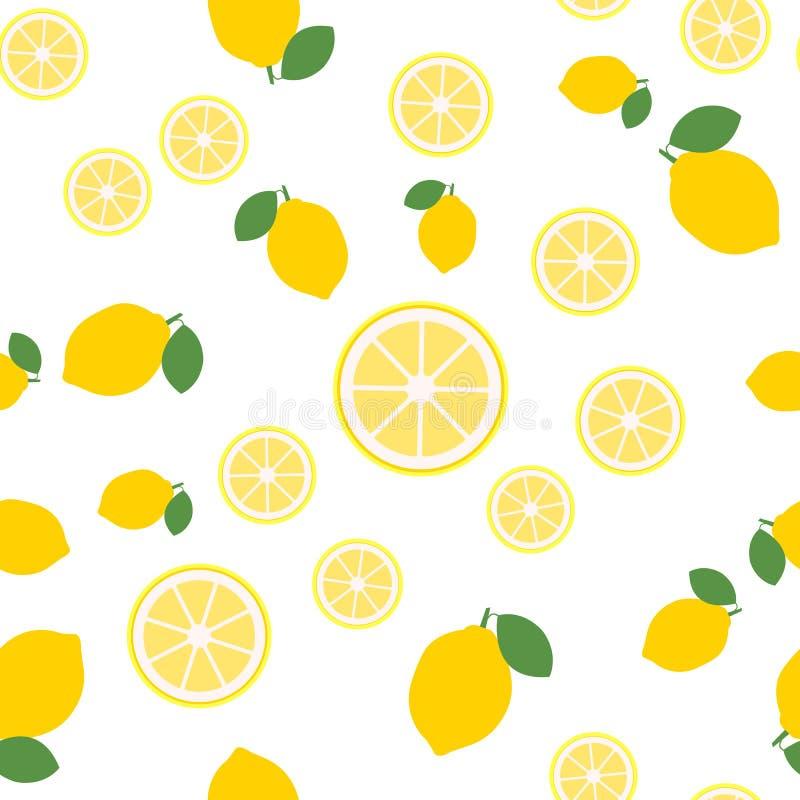 De citroen snijdt naadloos patroon op witte achtergrond Fruitcitrusvrucht Elementen voor menu Vector illustratie - Het vector royalty-vrije illustratie