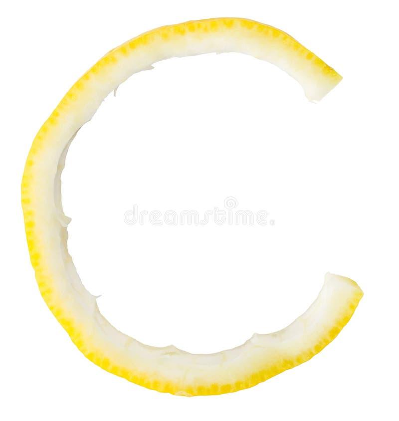 De citroen van de brief C stock afbeelding