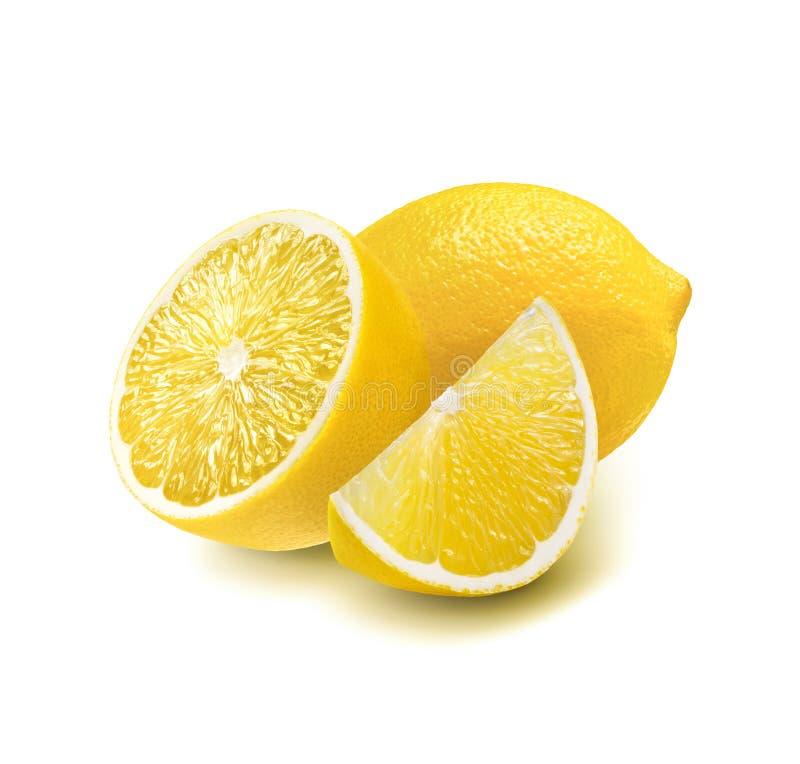 De citroen van het gehele, halve die en kwartstuk op wit wordt geïsoleerd stock foto's