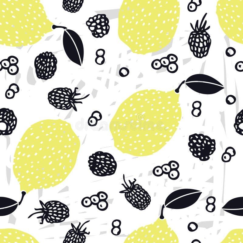 De Citroenen van de voedselinzameling overhandigen getrokken Bosbes en braambessen Naadloos patroon stock illustratie