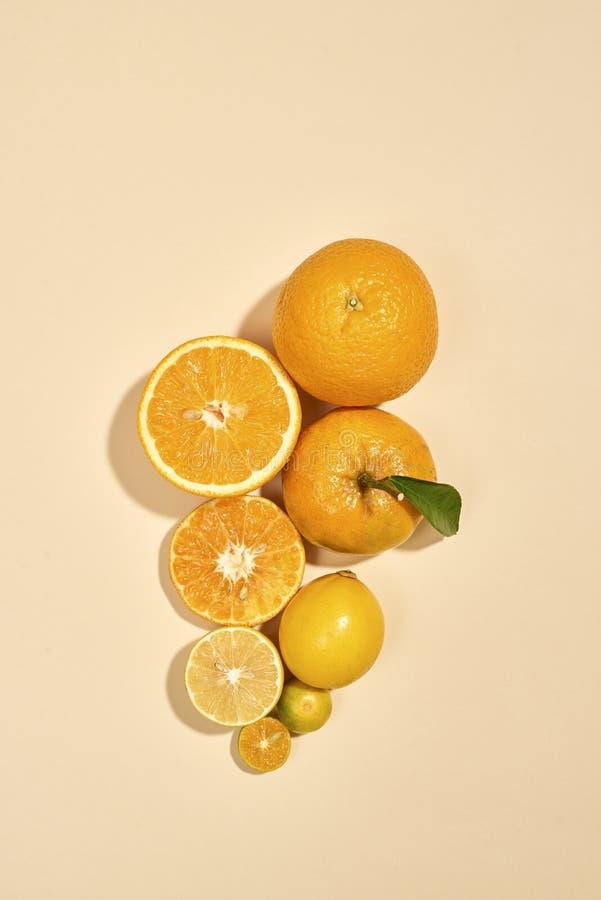 De citrusvruchten zijn op een witte achtergrond Kumquat, citroen, mandarin, sinaasappel is op pastelkleurachtergrondafbeelding royalty-vrije stock foto's