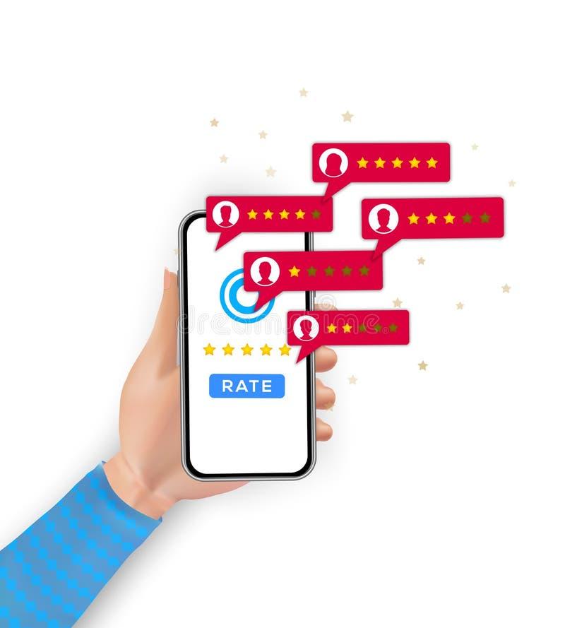 De classificatie die van het klantenoverzicht op mobiele telefoon rangschikken De cliënt koppelt evaluatie, huldeblijken, het con royalty-vrije illustratie