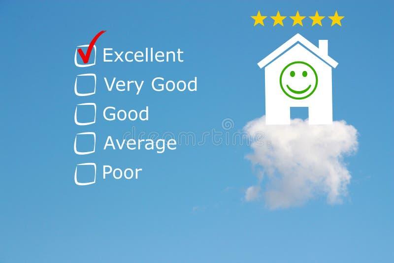 De classificatie van het hoteloverzicht met sterren en emoji stock foto's