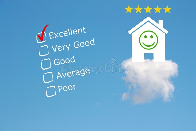 De classificatie van het hoteloverzicht met sterren en emoji royalty-vrije stock foto