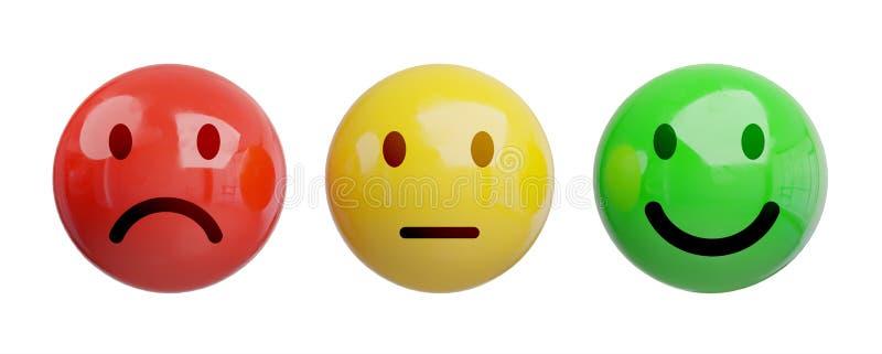 De classificatie van de klantentevredenheid met smiley het 3D teruggeven vector illustratie