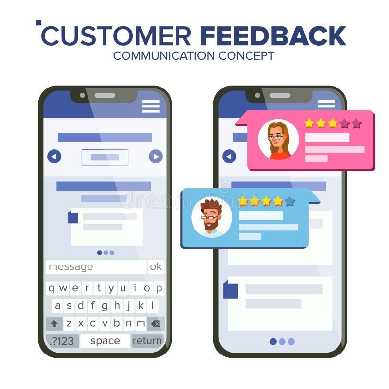 De Classificatievector van de klantenterugkoppeling Smartphone-Vector De bellen van de toespraak Sociale Media App Interface Geïs stock illustratie