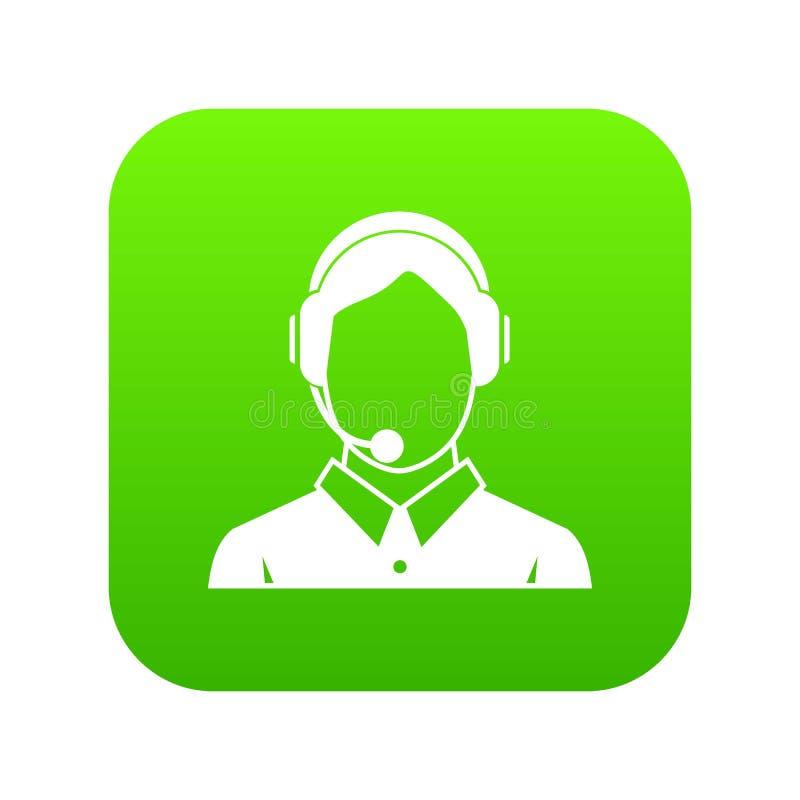 De cliëntdiensten, het pictogram van de telefoonhulp digitale groen royalty-vrije illustratie