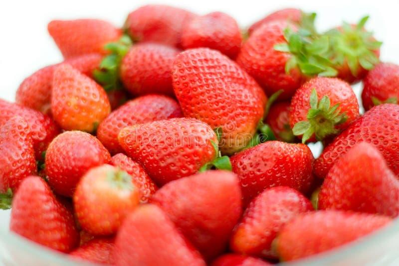 De close-up van aardbeien stock foto's