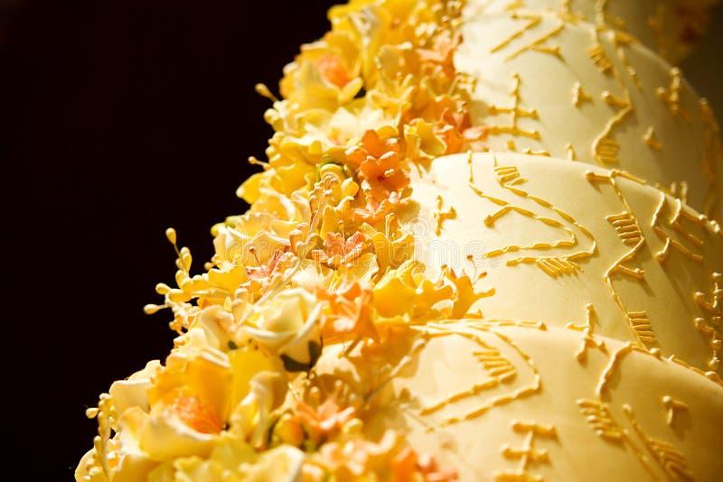 De Close-up van de Cake van het huwelijk royalty-vrije stock afbeeldingen