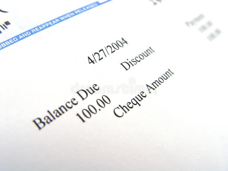 De Close-up van de cheque stock fotografie