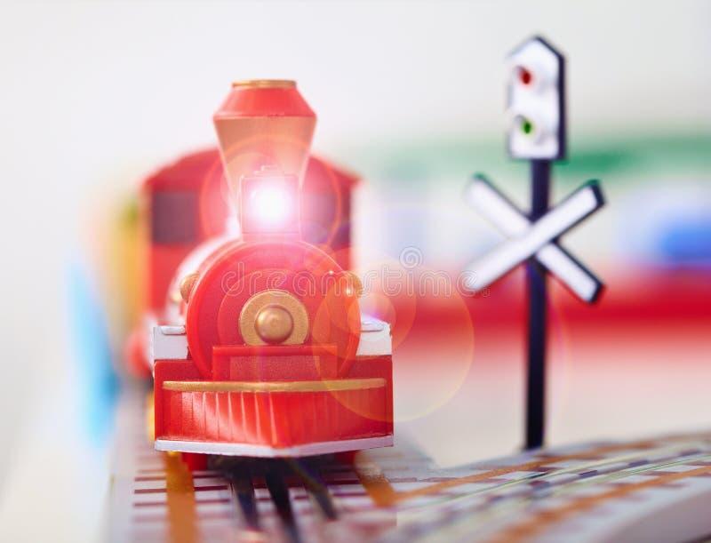 De close-up van de de stoommotor van het stuk speelgoed stock foto