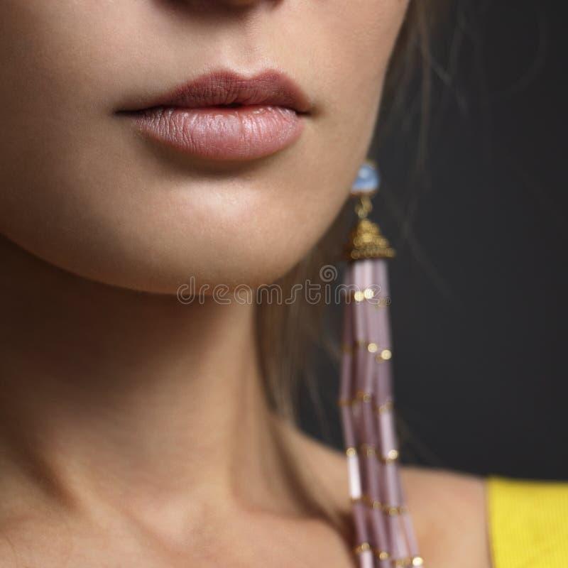 De close-up van de gezichtsvrouw stock foto's