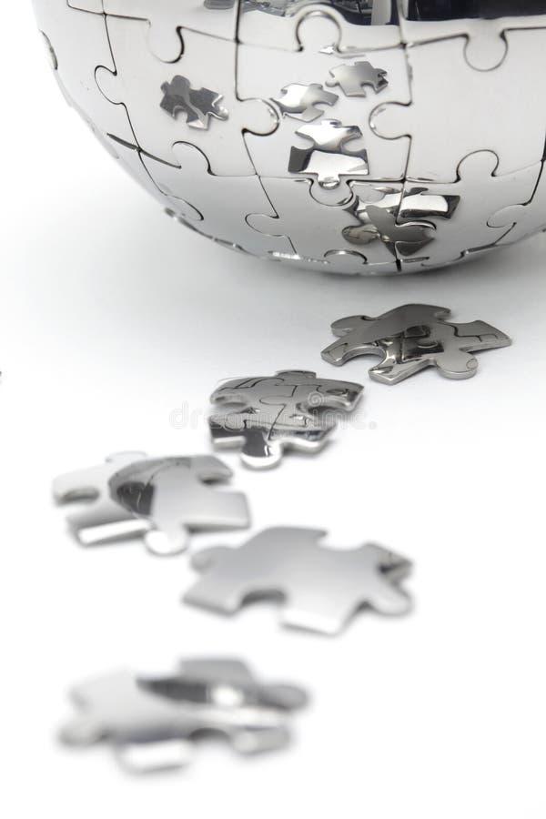 De close-up van de het raadselbol van het metaal royalty-vrije stock afbeeldingen