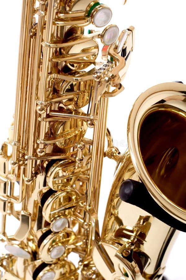 De close-up van de saxofoon stock foto's