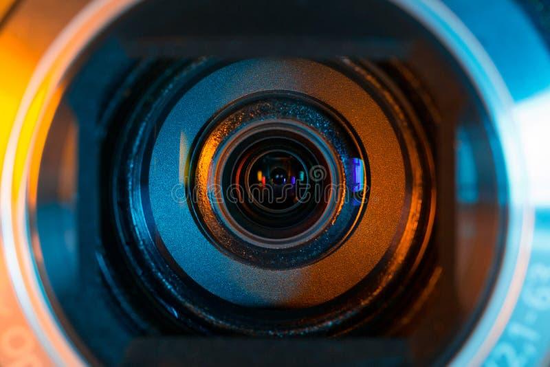 De close-up van de videocameralens royalty-vrije stock foto