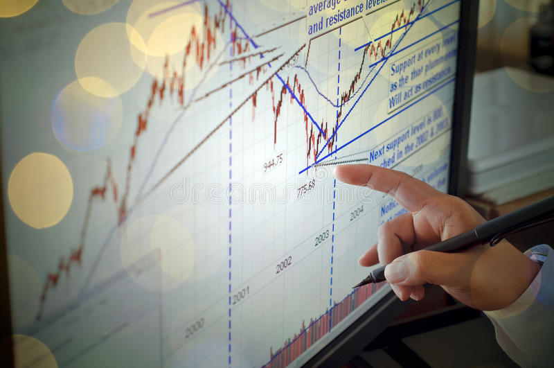 De close-up van een effectenbeursgrafiek op het computerscherm, indexeert royalty-vrije stock afbeelding