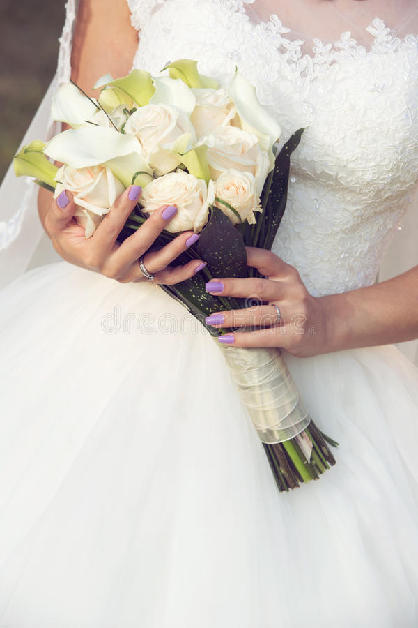 De close-up van het huwelijksboeket stock afbeelding
