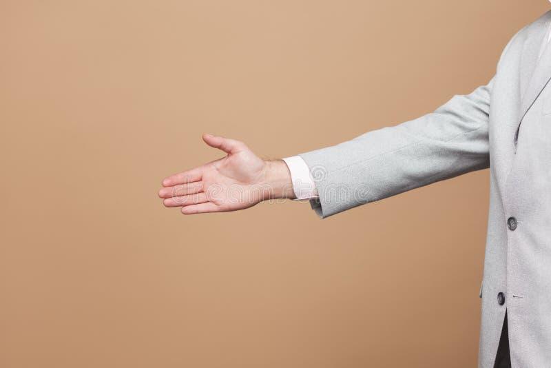 De close-up van het profiel zijaanzicht van zakenman in lichtgrijs stan kostuum stock foto's
