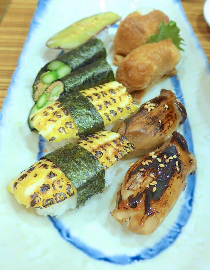 De close-up van Nigirisushi royalty-vrije stock afbeeldingen