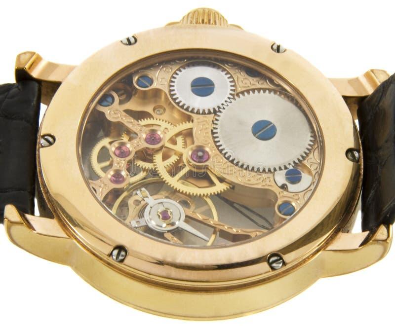 De close-up van rijke gouden Zwitser maakte chronograafhorloge stock afbeelding