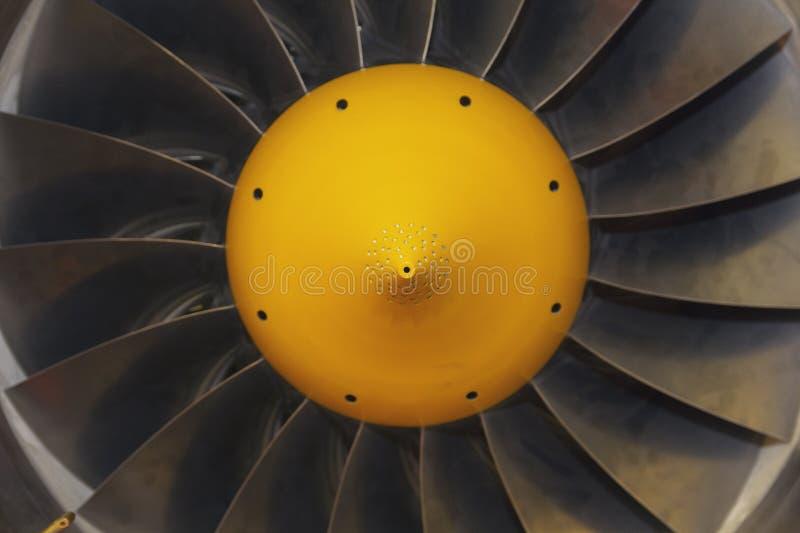 De close-up van de straalmotorvliegtuigen van turbinebladen stock afbeeldingen