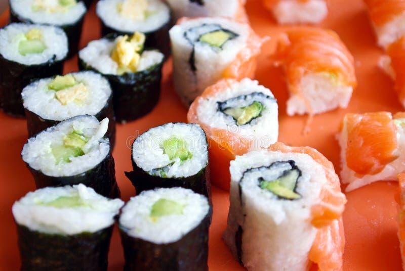 De close-up van sushi stock afbeelding