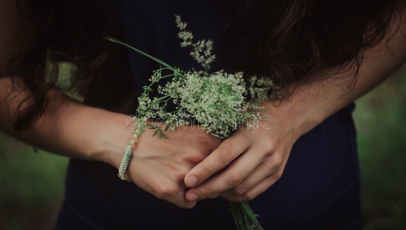De close-up van vrouw, die blauwe kleding dragen, die in het madeliefje van het handenboeket houden bloeit in openlucht, nieuw he stock afbeeldingen