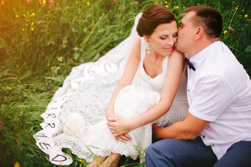 De close-upbruidegom kust bruid op de wang, zonsondergangweide royalty-vrije stock fotografie