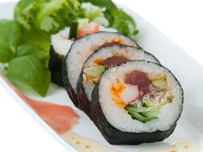 De close-uppresentatie van sushi stock foto's