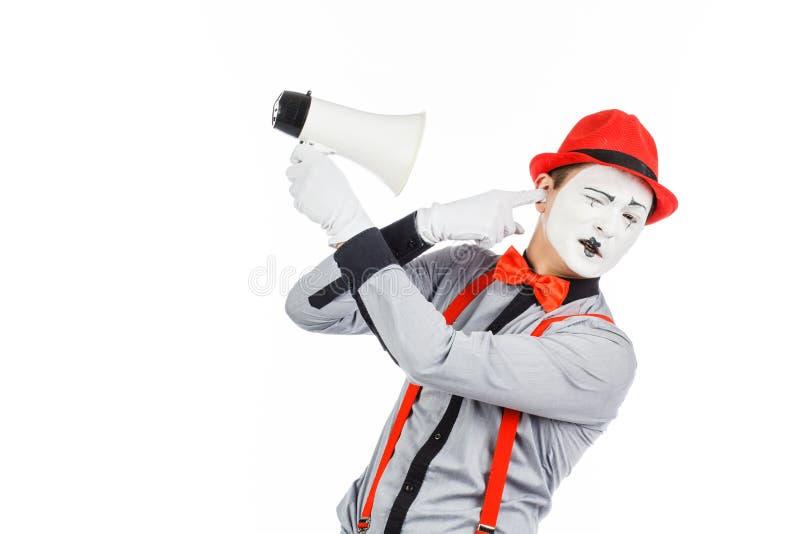 De clown, BOOTST na, houdend een Megafoon De uitdrukking van emoties Op stock afbeeldingen