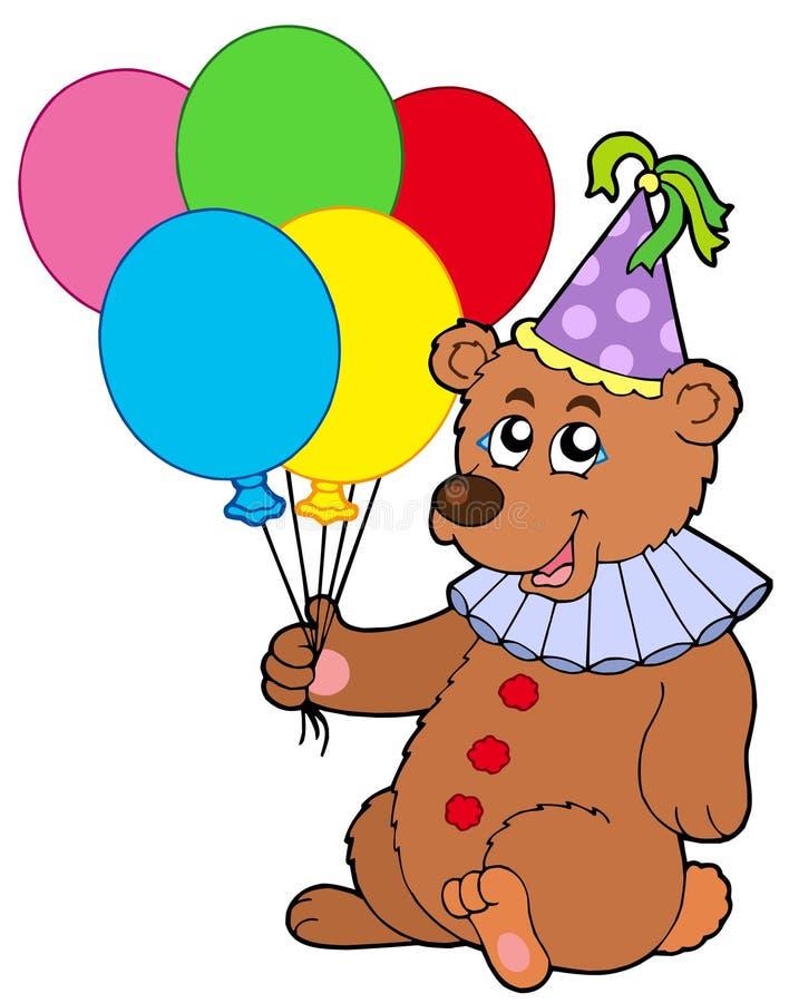 De clown draagt met ballons royalty-vrije illustratie