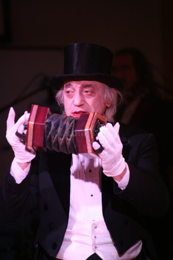 De clown Robert Gorodetsky voert pantomime pop aantal uit royalty-vrije stock foto