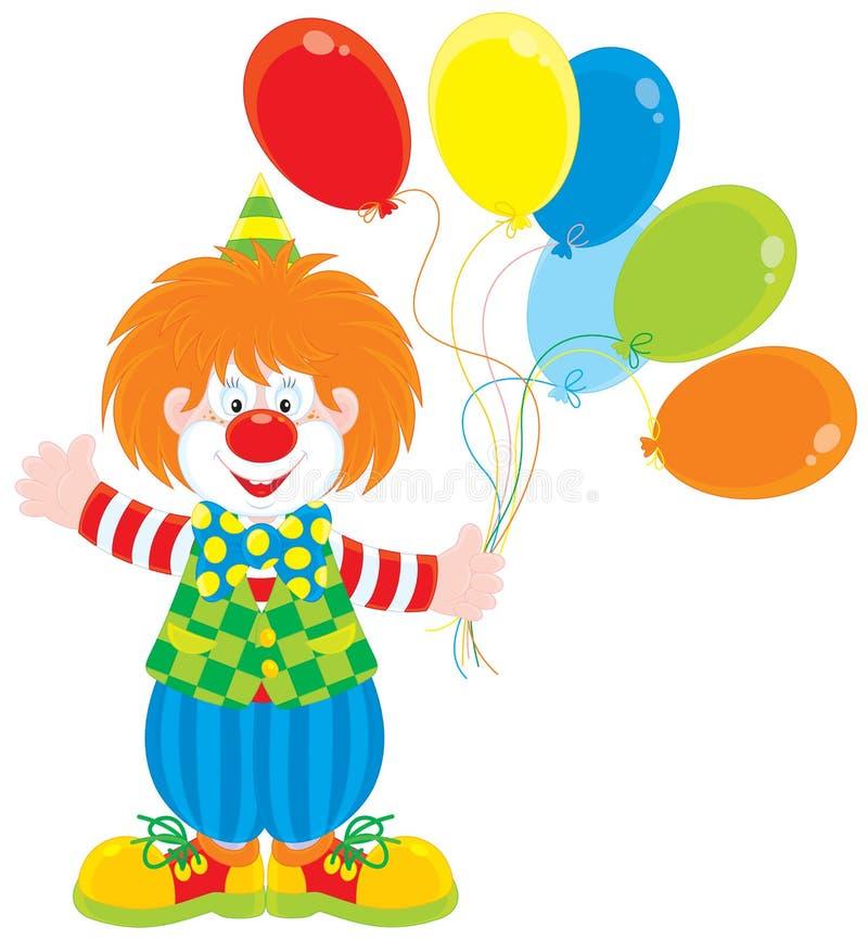 De clown van het circus met ballons royalty-vrije illustratie