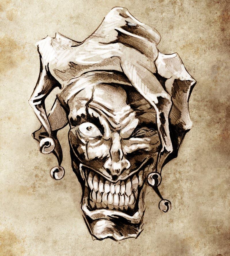 De clownjoker van de fantasie. Schets van tatoegering royalty-vrije illustratie