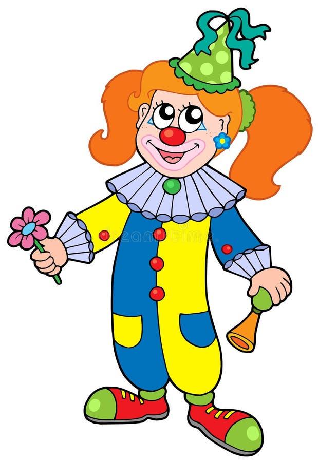 De clownmeisje van het beeldverhaal stock illustratie