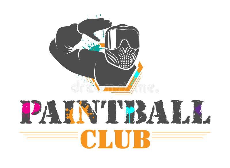 De club van de ?olorful paintball sport logotype Mens in volledig materiaal met gekleurde maskerbegroetingen Ontwerp voor druk, W vector illustratie