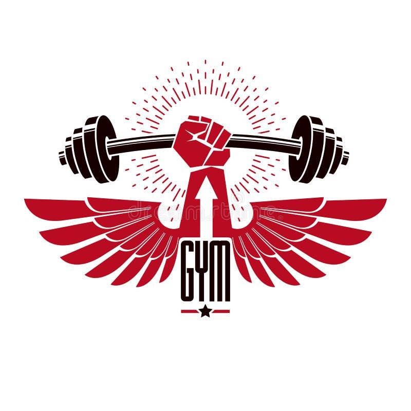 De club van de de gymnastiek logotype sport van het Bodybuildingsgewichtheffen, retro styliz royalty-vrije illustratie