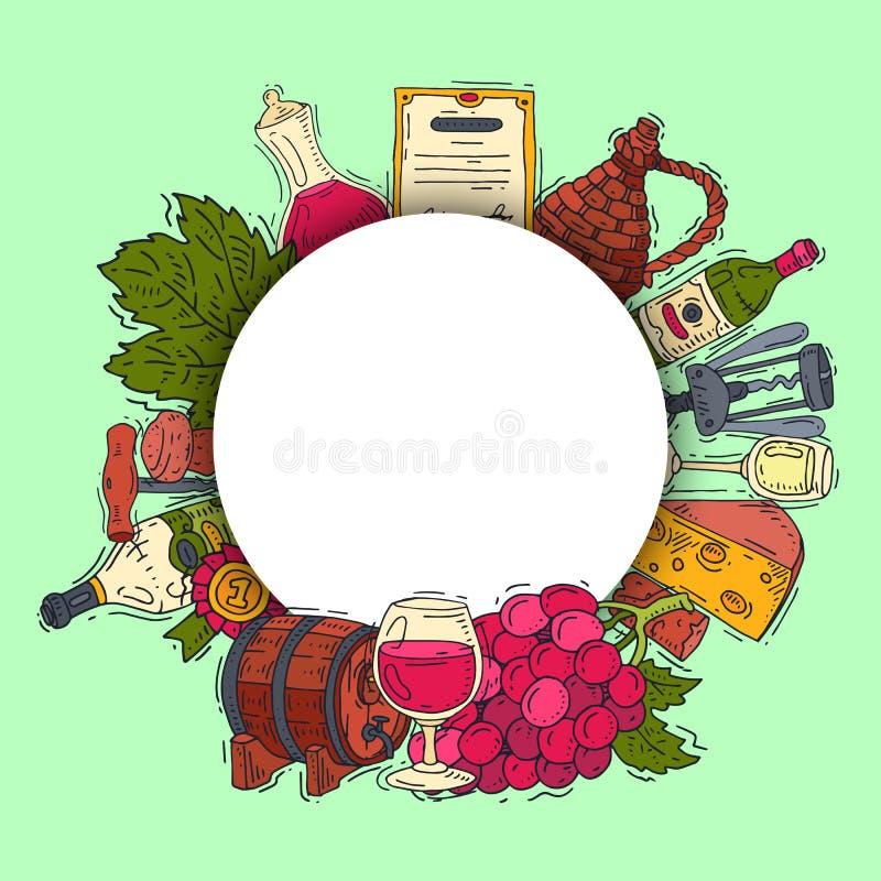 De club van de wijnsmaak om van de het glaswijn van patroon vectorillustraties de druivenfles Proevend gebeurtenissenmenu Vectora royalty-vrije illustratie