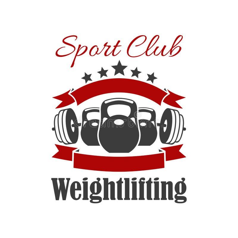 De club vectorteken van de gewichtheffensport royalty-vrije illustratie