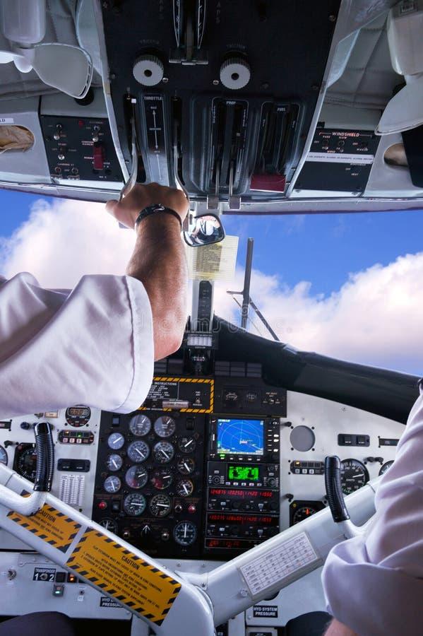 De cockpit van het vliegtuig. stock fotografie