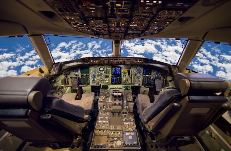 De Cockpit van vliegtuigen. stock fotografie